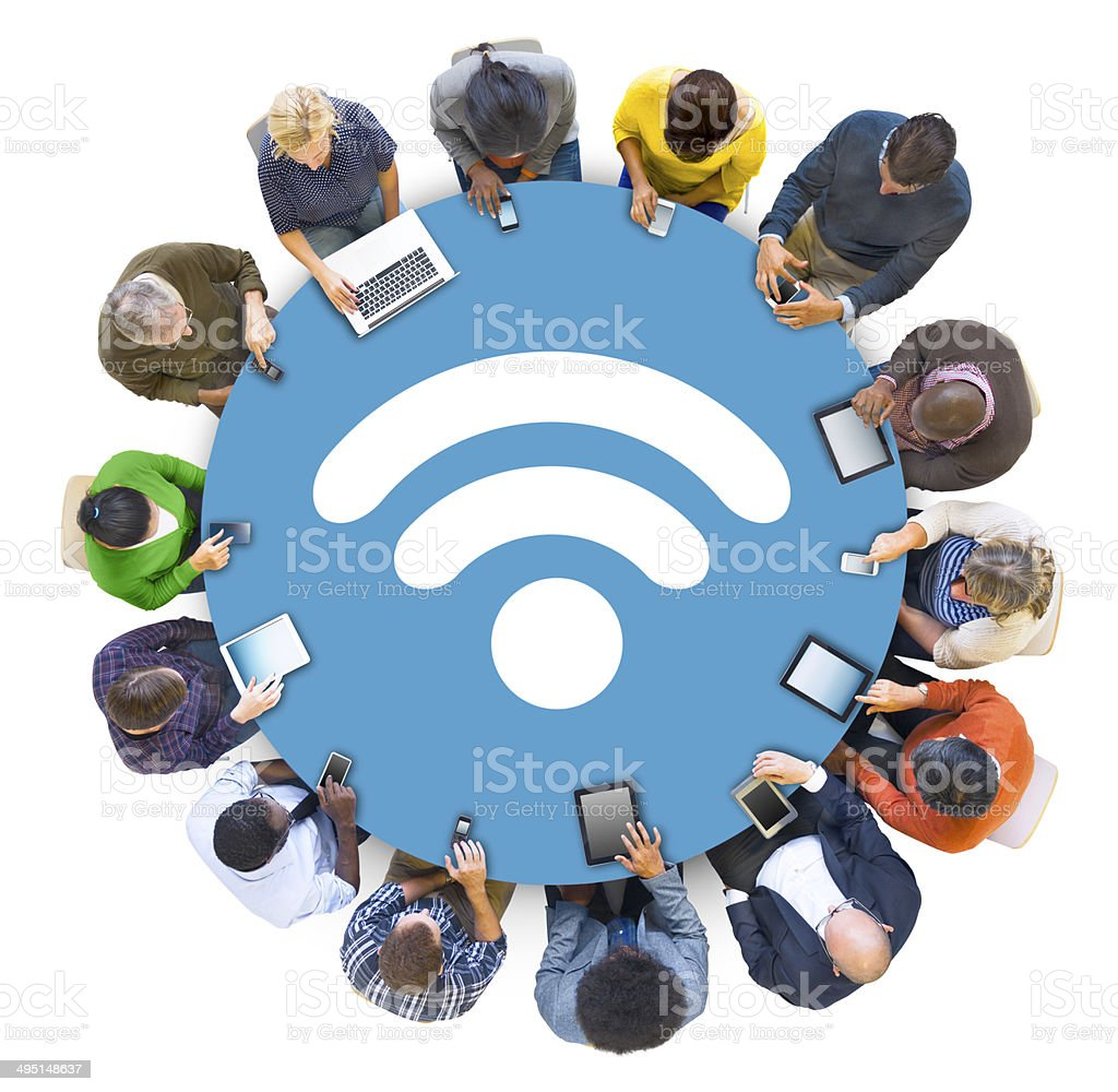 Multiethnic People Social Networking with WIFI Concepts stock photo