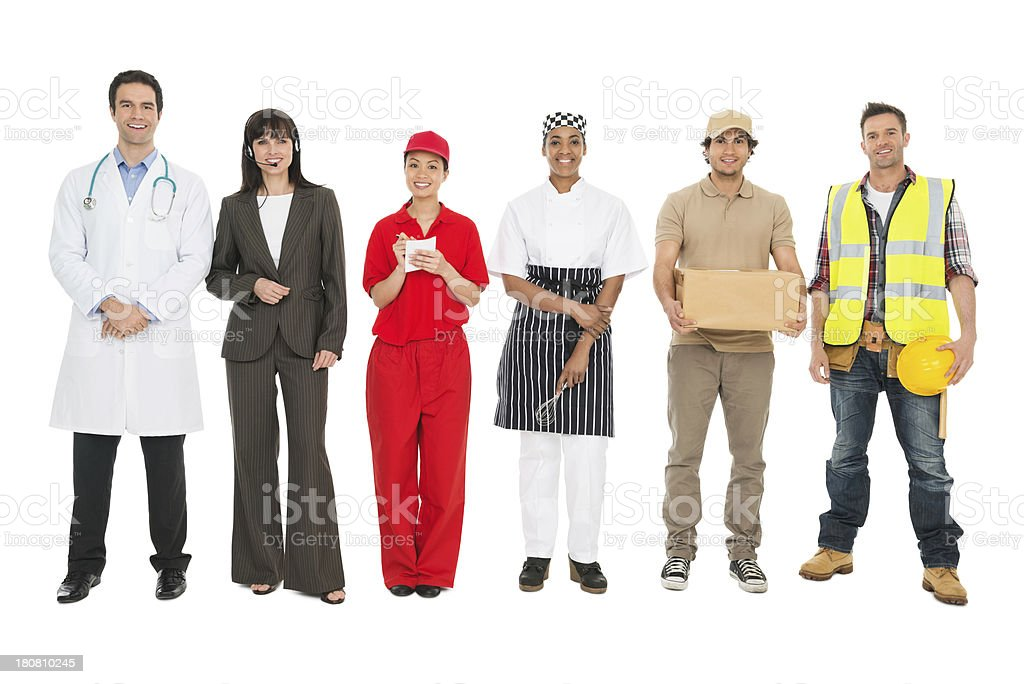 Multi-Ethnic People With Various Occupations Standing Together stock photo