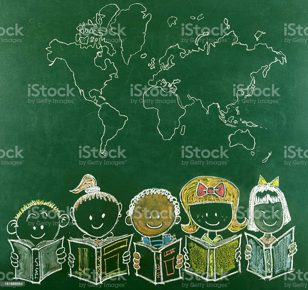 Multi-Ethnic School Children and World's Map stock photo