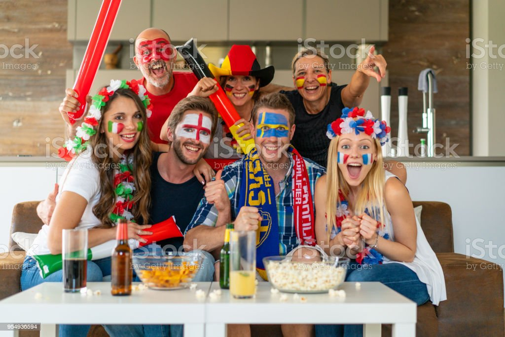 seven sports - soccer - fans from different nations cheering for...