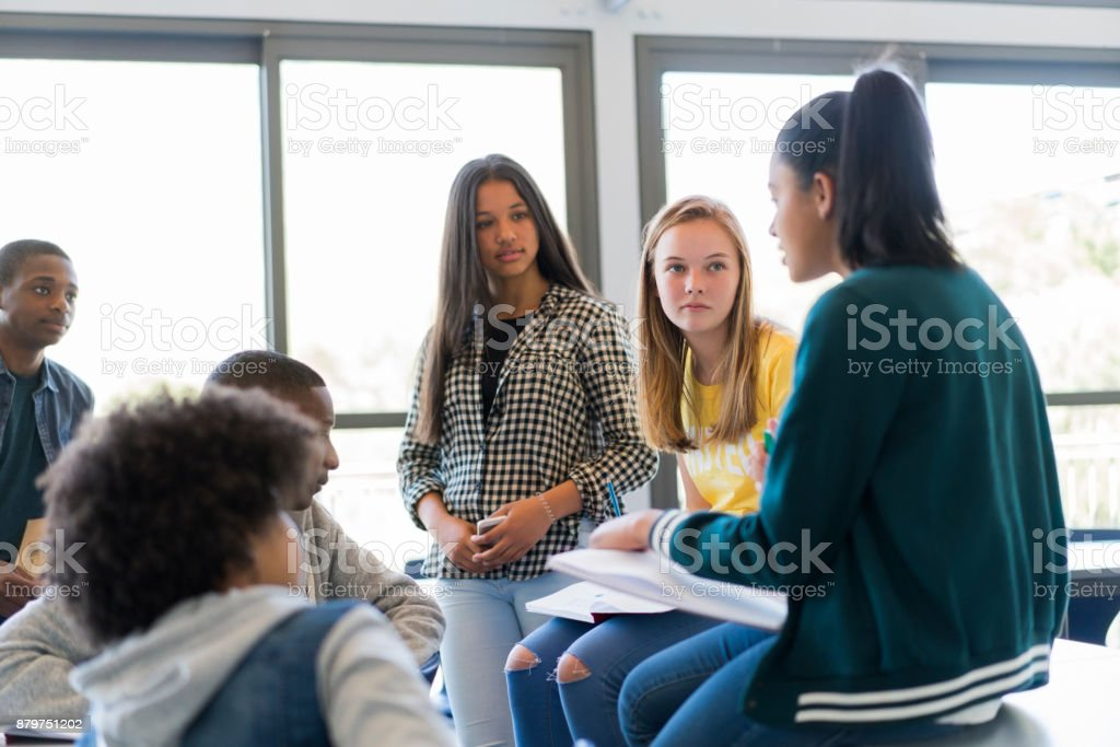 Multi-ethnic students discussing in classroom stock photo
