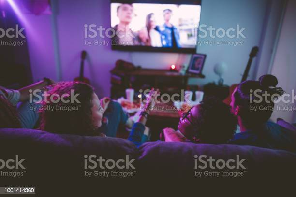Multiethnic teenage friends watching tv together at hangout house picture id1001414360?b=1&k=6&m=1001414360&s=612x612&h=qivyaa6eno4bu89x6 b0s1guefjxqvu0resutxjb9f4=