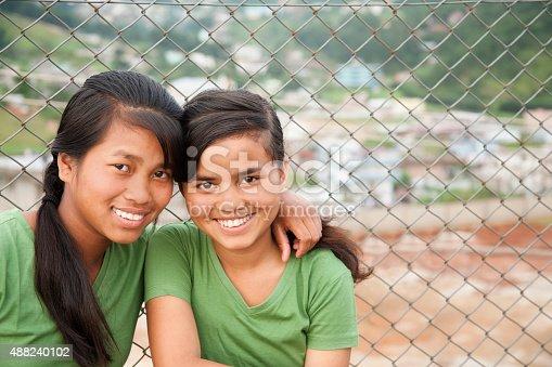 istock Multi-ethnic teenage girl friends posing outdoors. 488240102