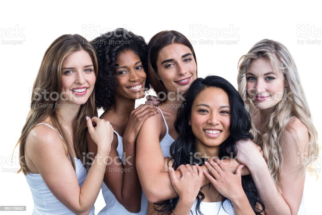 Multiethnic women embracing each other foto stock royalty-free
