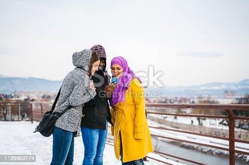 Multi-ethnic young women using phone in a public park on a snowy day.