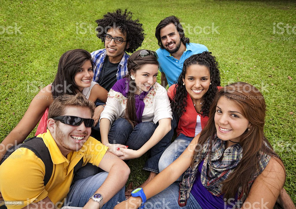 Multi-ethnics group of young students at the university campus royalty-free stock photo