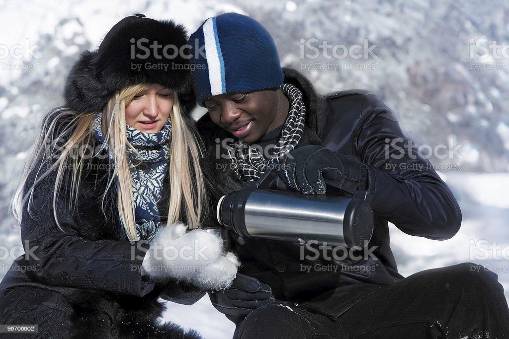 Multi-etnic couple royalty-free stock photo