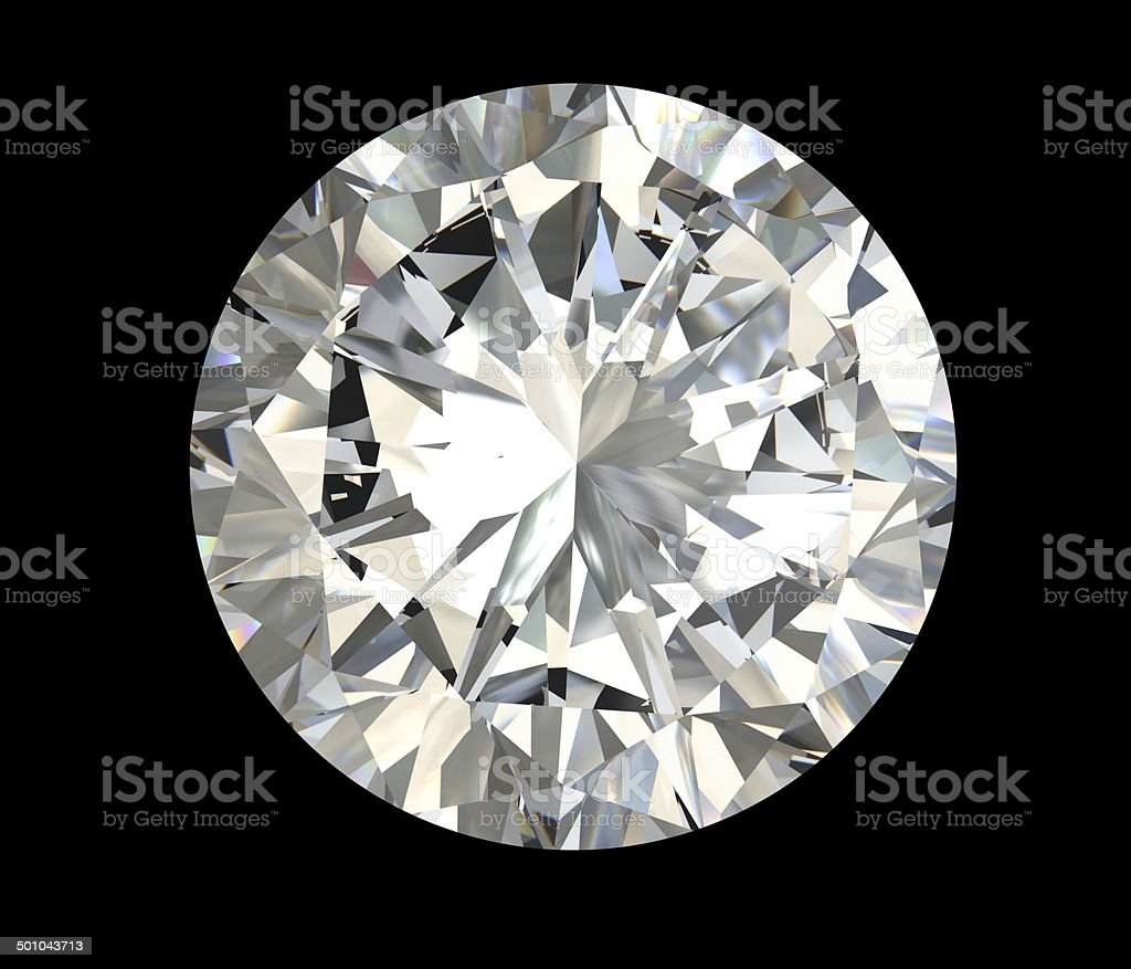Multifaceted round diamond on black background stock photo