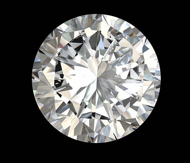 Poliédrico de diamante sobre fondo negro redondo - foto de stock