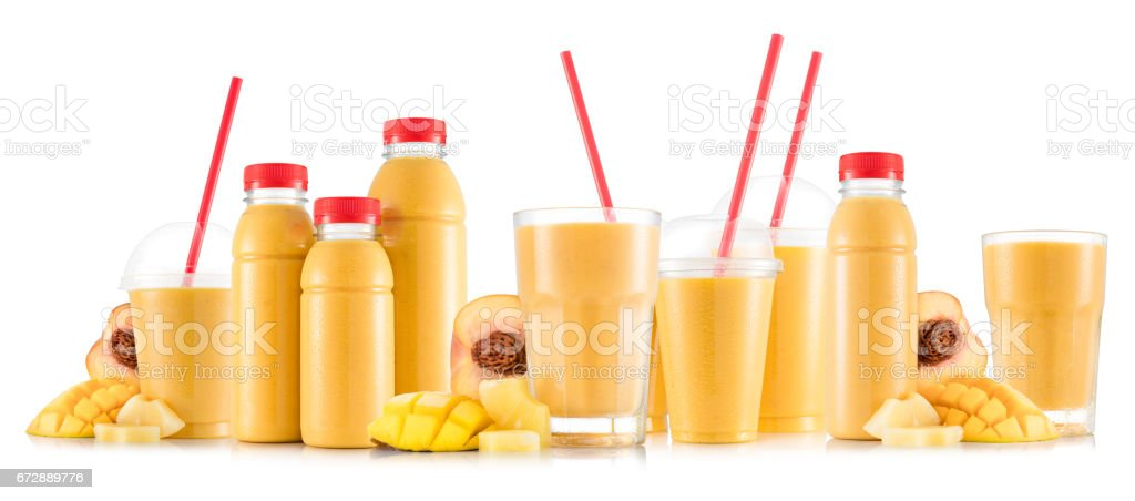 Multifruit smoothie in many kinds of glasses and bottles stock photo