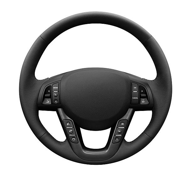 Multifunction Leather Steering Wheel - Isolated stock photo