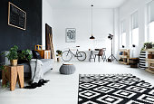 Multifunctional, black and white room with sofa, plants, desk, chair