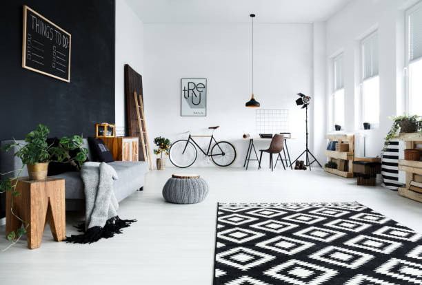 multifunctional, black and white room - retro decor stock photos and pictures