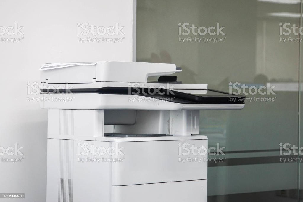 multifunctional office printer ready to use stock photo