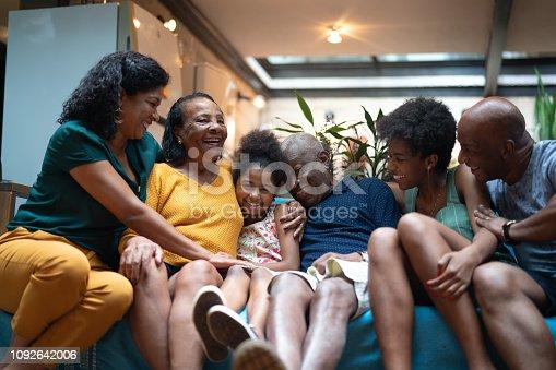 istock Multi-Generation African hispanic family at home 1092642006