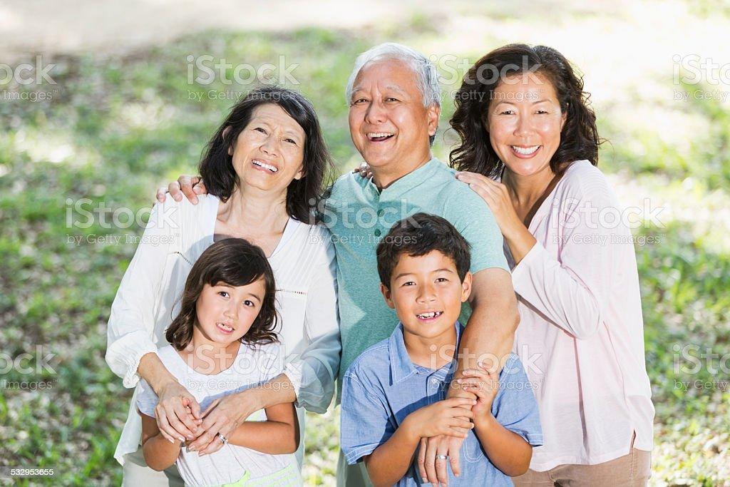 Multi-generation Asian family stock photo