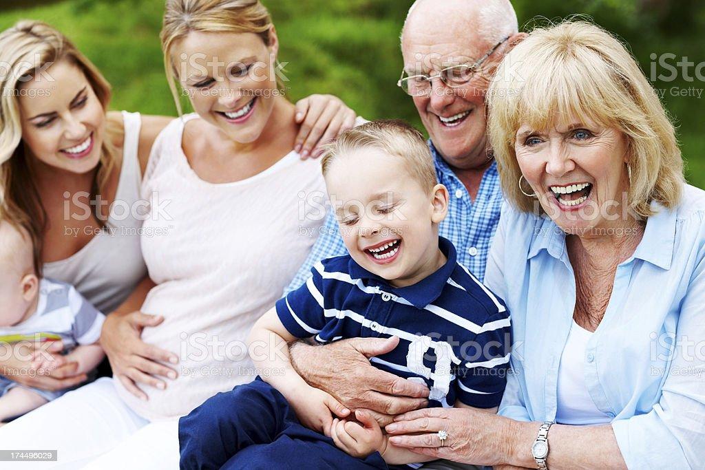 Multi-generation family enjoying holidays royalty-free stock photo