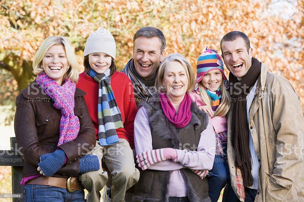Multi-generation family on autumn walk royalty-free stock photo