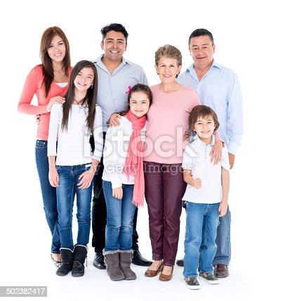 Happy multi-generation family isolated over white background