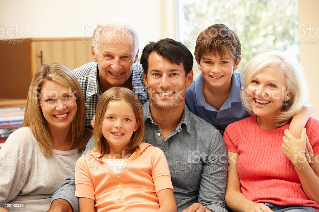 Multi-generation family portrait royalty-free stock photo