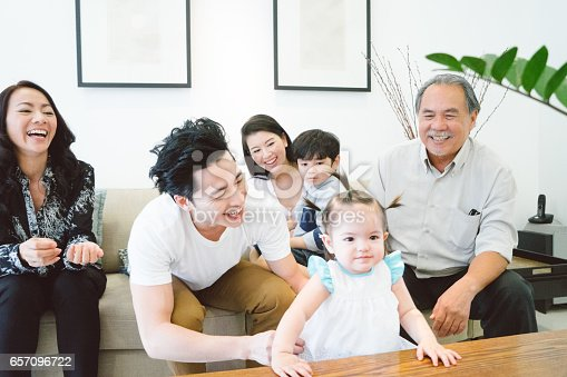 istock Multi-generation family sitting on sofa in living room 657096722