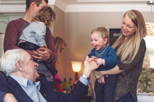 Multi-generation family spending time together for Father's day stock photo
