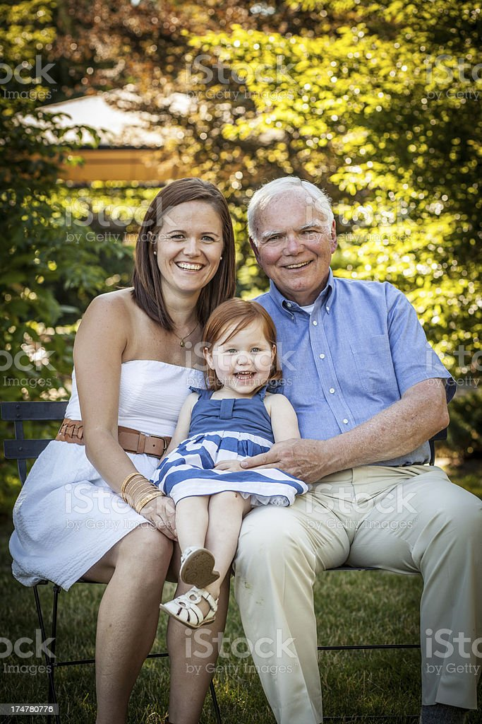 Multi-generation Grandpa, Mother, Daughter Family Happiness royalty-free stock photo