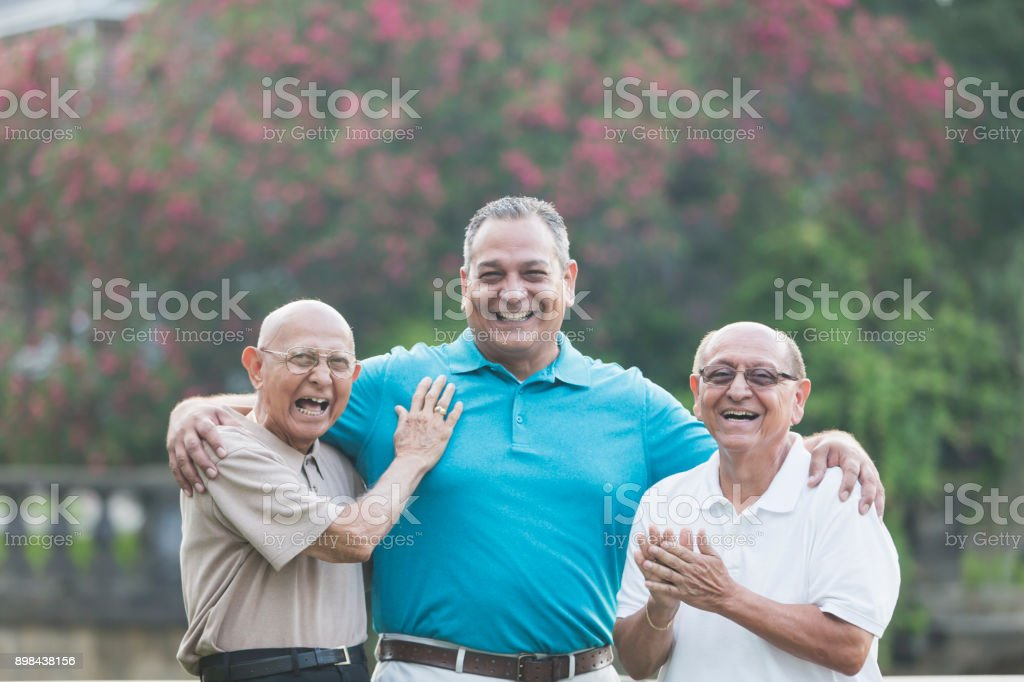 Multi-generation Hispanic family, 90 year old