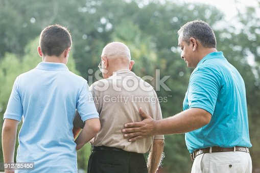 Rear view of a multi-generation Hispanic family at the park. The man in the middle is over 90 years old. His 15 year old great grandson is on one side, and his grandson, in his 40s, is on the other side. The teenager is mixed race Hispanic and Caucasian.