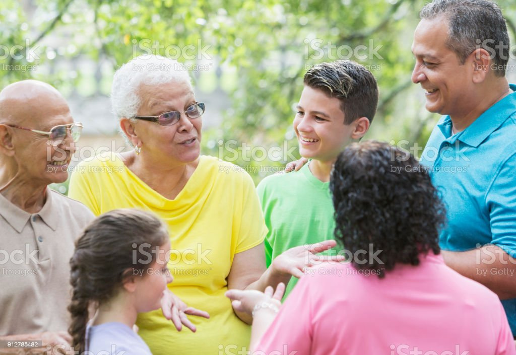 Multi-generation Hispanic family, 90 year old stock photo