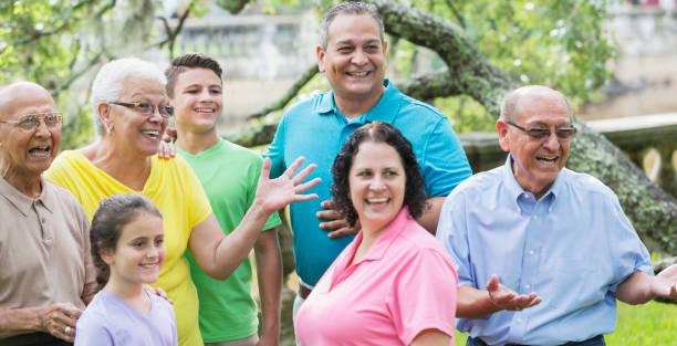 Multi-generation Hispanic family, 90 year old stock photo