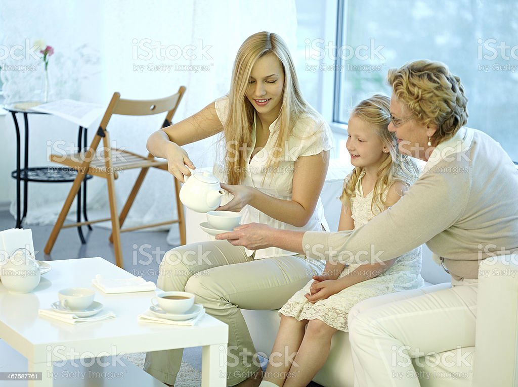 Multi-generation tea-drinking royalty-free stock photo