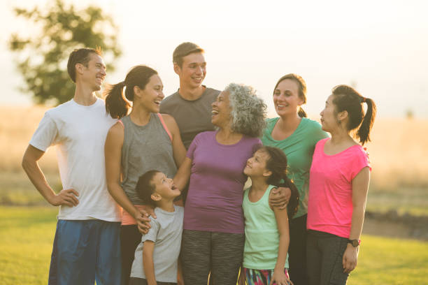 multigenerational family portrait outside - hawaiian ethnicity stock photos and pictures