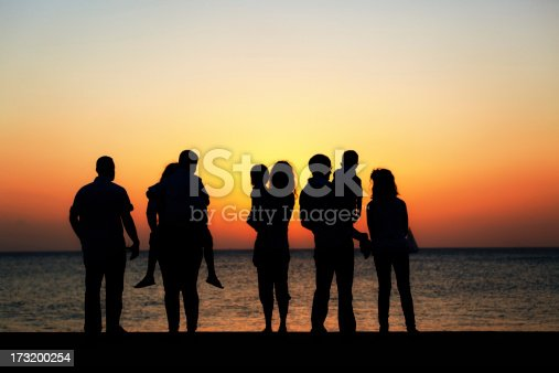Silhouetted family of 8 watching the sun setting over the ocean.