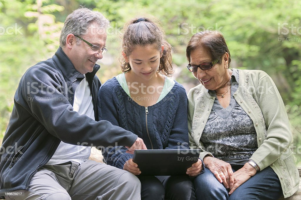 Multi-Generational Group Looking at Computer Tablet in Park royalty-free stock photo