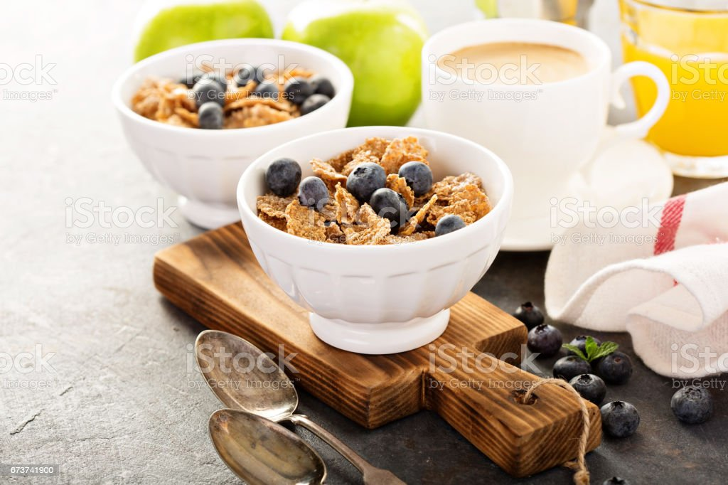 Multigrain healthy cereals with fresh blueberry royalty-free stock photo
