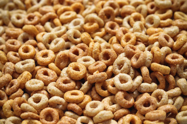 Multigrain hoop breakfast cereal stock photo