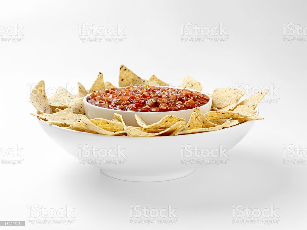 Multigrain Tortillia Chips with Chunky Salsa royalty-free stock photo