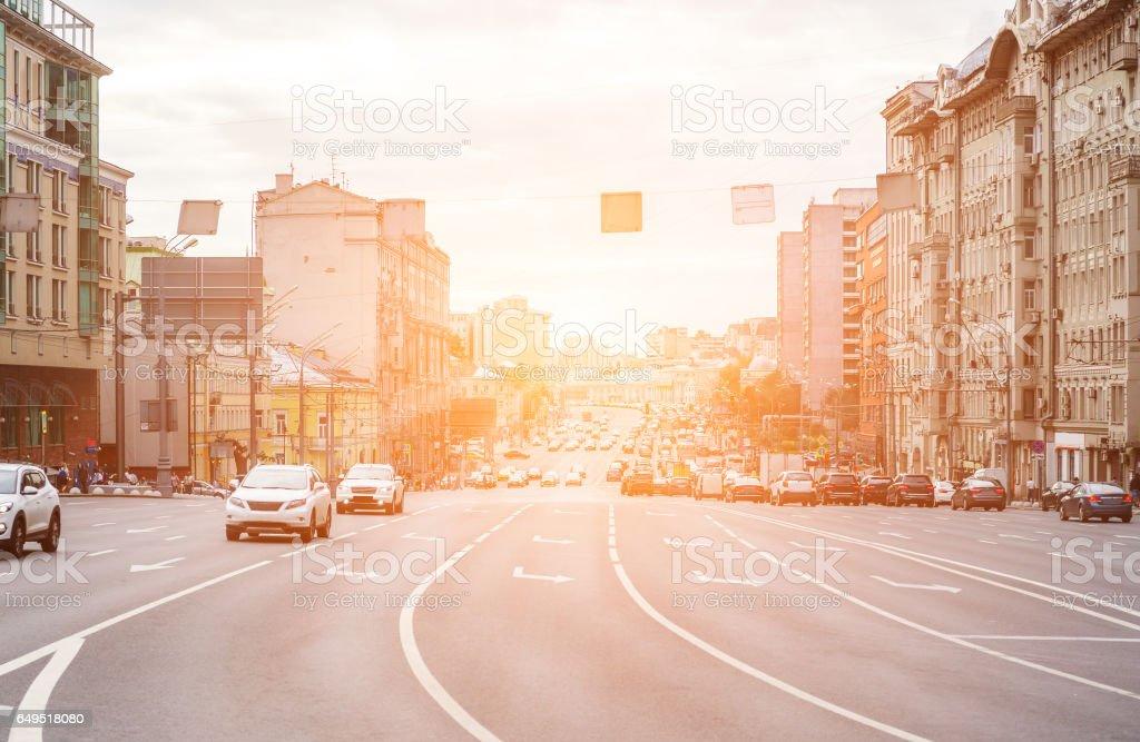 Multilane avenue with cars stock photo