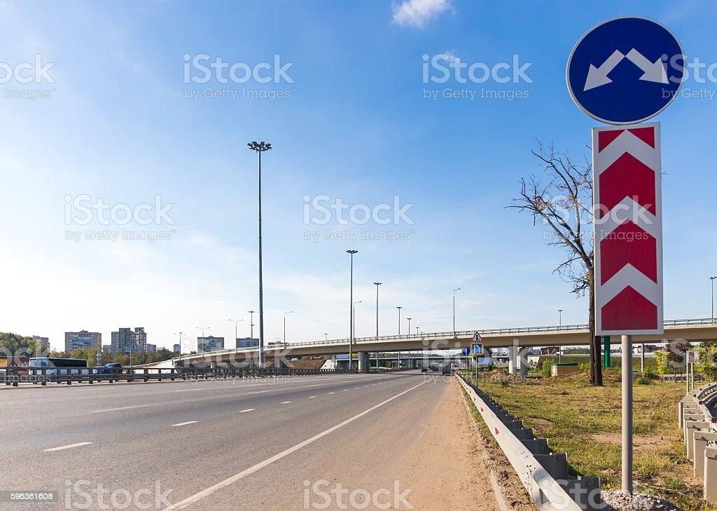 Multilane highway and overpass stock photo