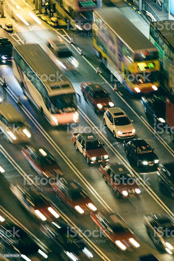 Multi-lane highway at night, Hong Kong, aerial view stock photo