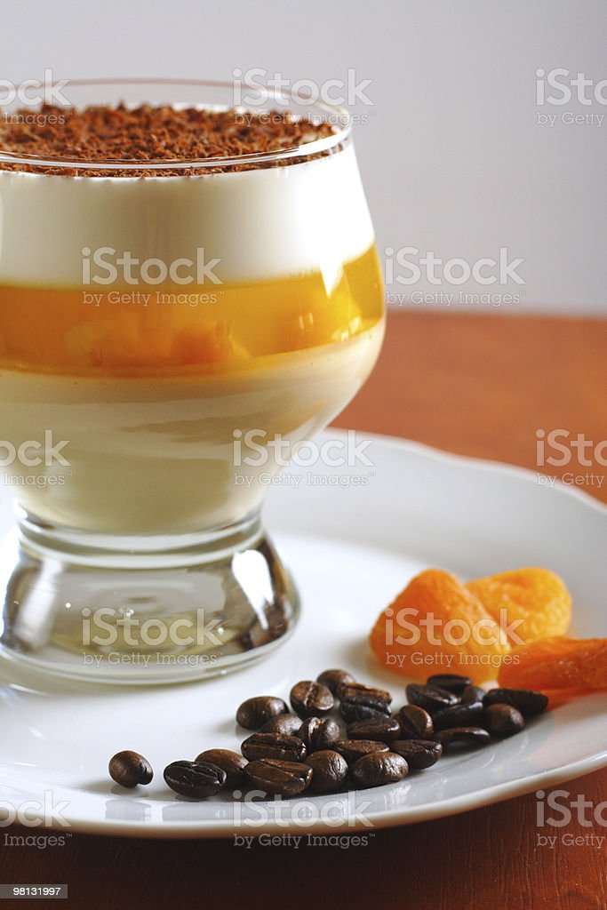 Multilayer gelatin dessert with jelly in glass royalty-free stock photo