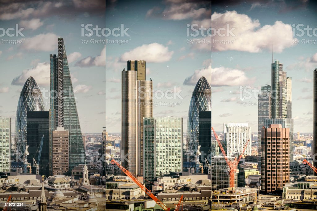 Multi-lens abstract triptych of the corporate buildings of the City of London stock photo