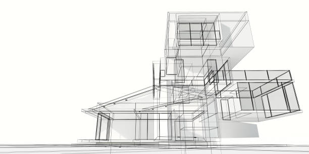Multilevel modern house project stock photo