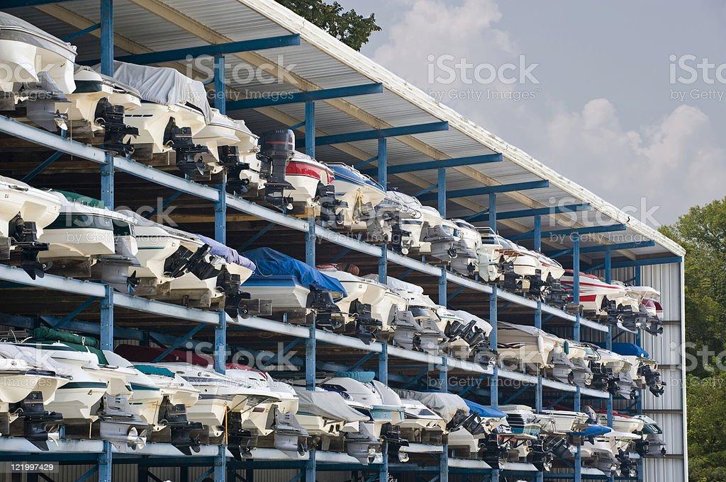 Multilevel Motorboat Garage stock photo