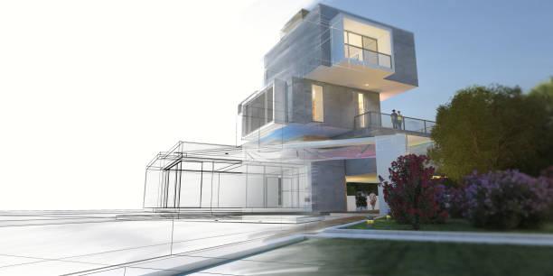 Multilevel villa project evolution stock photo