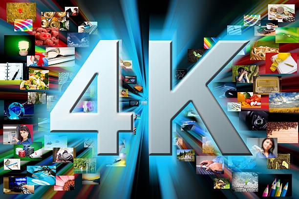 multimedia hintergrund. 4 k-auflösung konzept - 4k led tv stock-fotos und bilder