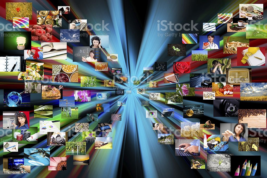 Multimedia background. Composed of many images stock photo