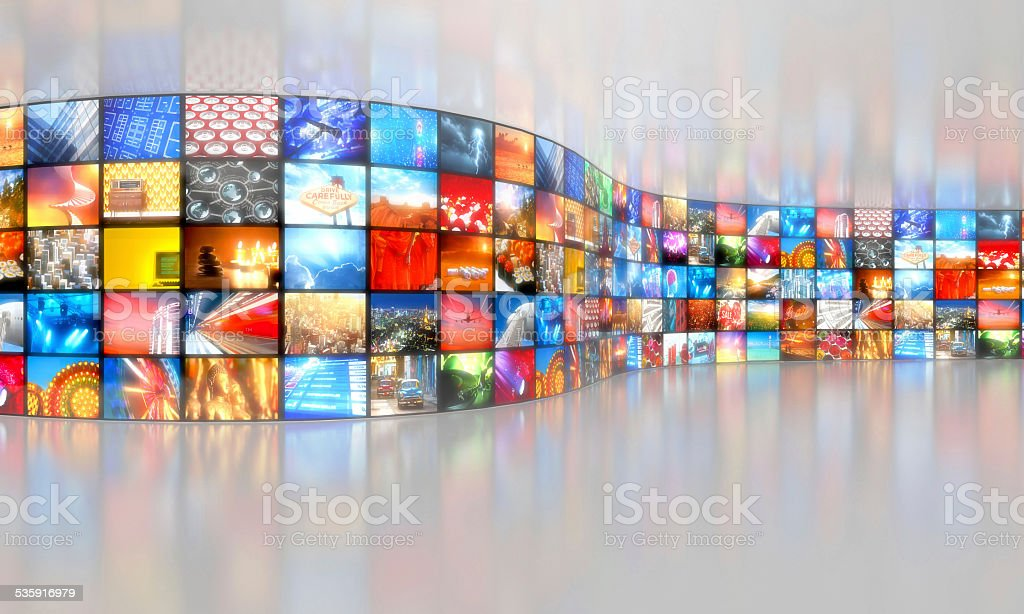 Multimedia broadcasting background with multiple video stock photo