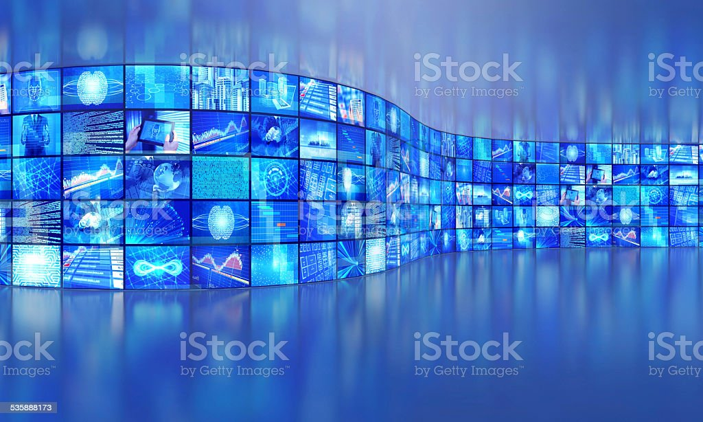 Multimedia broadcasting video images in a large gallery stock photo